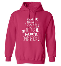 Great Nana I love you to the moon and back adults unisex pink hoodie 2XL
