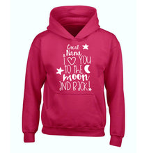 Great Nana I love you to the moon and back children's pink hoodie 12-14 Years
