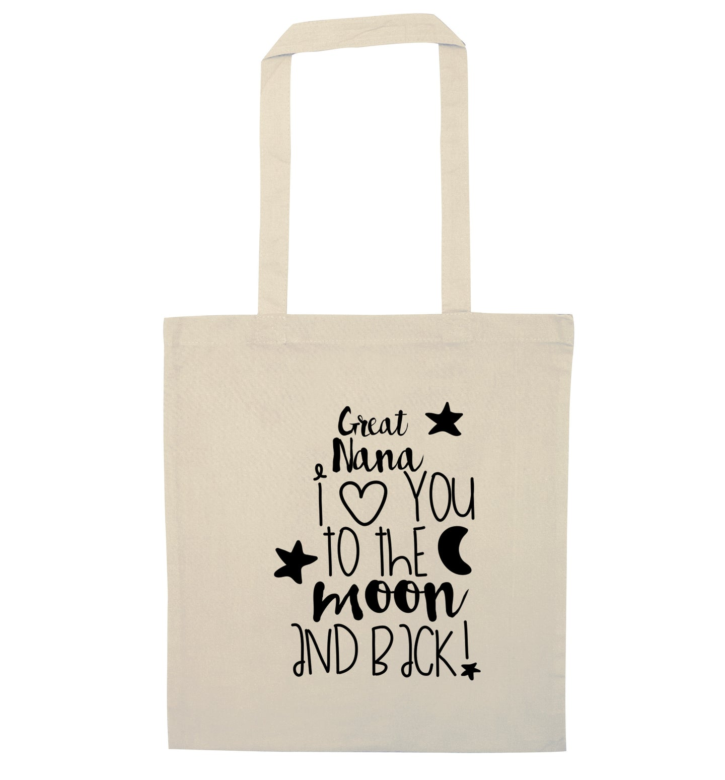 Great Nana I love you to the moon and back natural tote bag