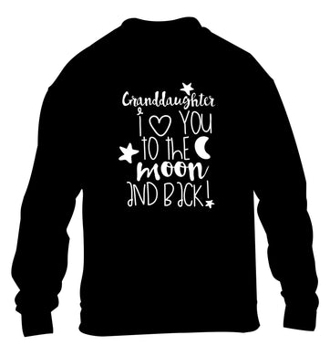 Granddaughter I love you to the moon and back children's black  sweater 12-14 Years