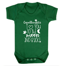 Granddaughter I love you to the moon and back Baby Vest green 18-24 months