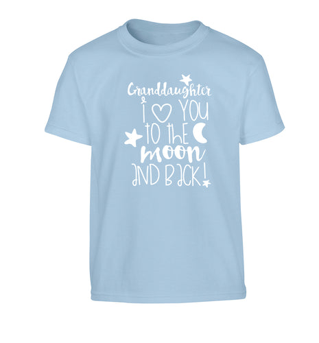 Granddaughter I love you to the moon and back Children's light blue Tshirt 12-14 Years
