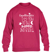Granddaughter I love you to the moon and back children's pink  sweater 12-14 Years