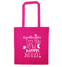 Granddaughter I love you to the moon and back pink tote bag