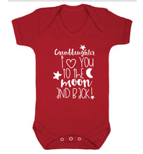 Granddaughter I love you to the moon and back Baby Vest red 18-24 months