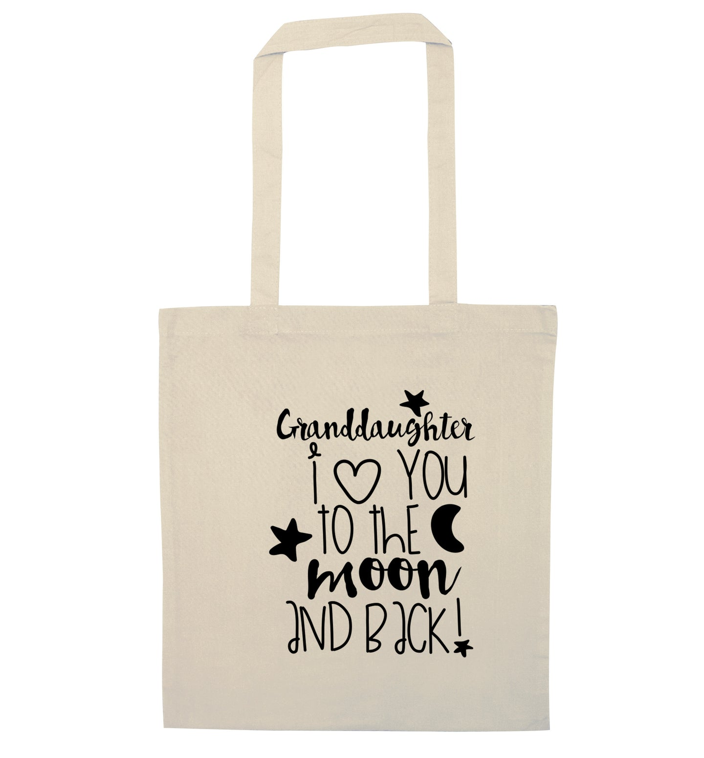 Granddaughter I love you to the moon and back natural tote bag