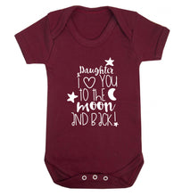 Daughter I love you to the moon and back Baby Vest maroon 18-24 months