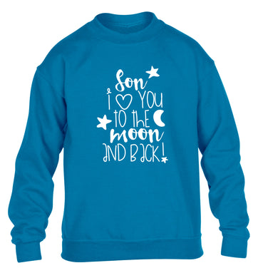 Son I love you to the moon and back children's blue  sweater 12-14 Years