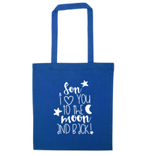 Son I love you to the moon and back blue tote bag