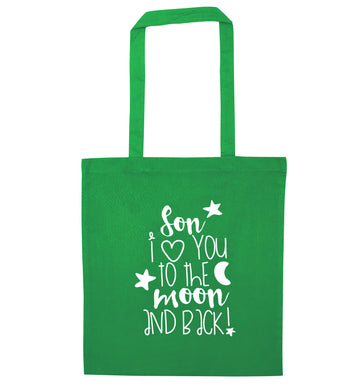 Son I love you to the moon and back green tote bag