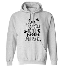 Son I love you to the moon and back adults unisex grey hoodie 2XL