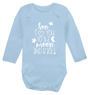 Son I love you to the moon and back Baby Vest long sleeved pale blue 6-12 months