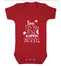 Son I love you to the moon and back Baby Vest red 18-24 months
