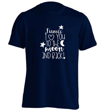 Fiancée I love you to the moon and back adults unisex navy Tshirt 2XL