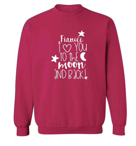 Fiancée I love you to the moon and back adult's unisex pink sweater 2XL