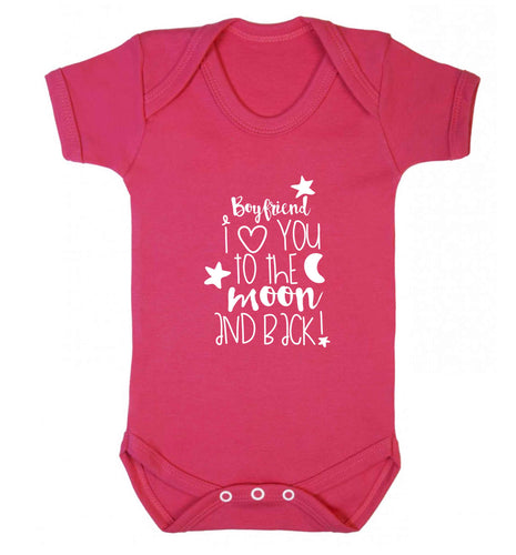 Boyfriend I love you to the moon and back baby vest dark pink 18-24 months