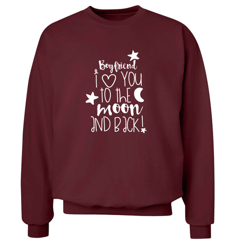Boyfriend I love you to the moon and back adult's unisex maroon sweater 2XL