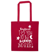 Boyfriend I love you to the moon and back red tote bag