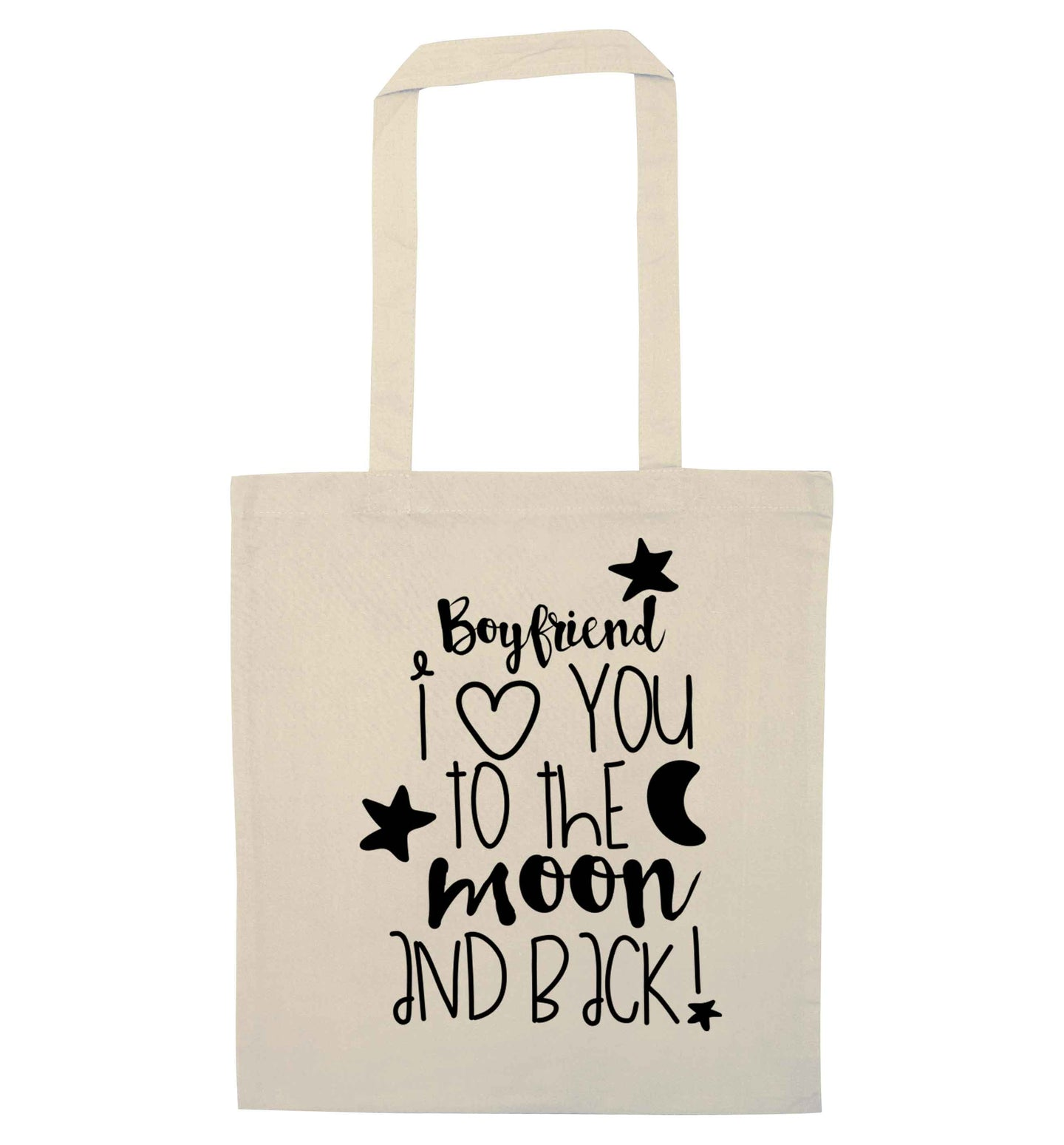 Boyfriend I love you to the moon and back natural tote bag