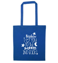 Nephew I love you to the moon and back blue tote bag