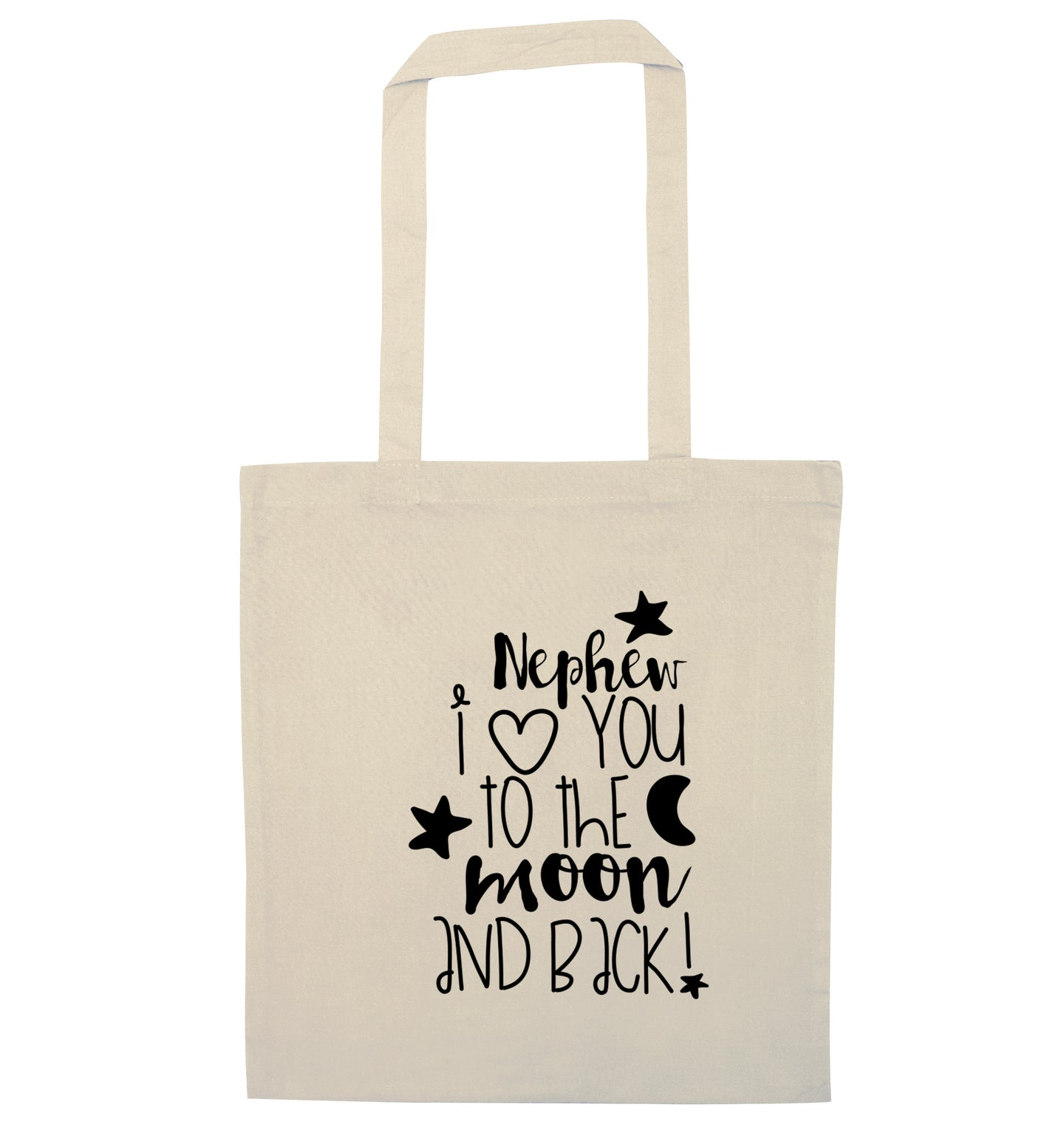Nephew I love you to the moon and back natural tote bag