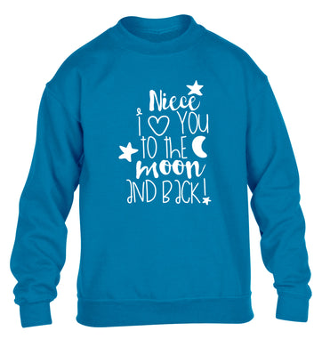 Niece I love you to the moon and back children's blue  sweater 12-14 Years