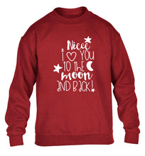 Niece I love you to the moon and back children's grey  sweater 12-14 Years