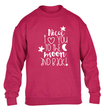 Niece I love you to the moon and back children's pink  sweater 12-14 Years