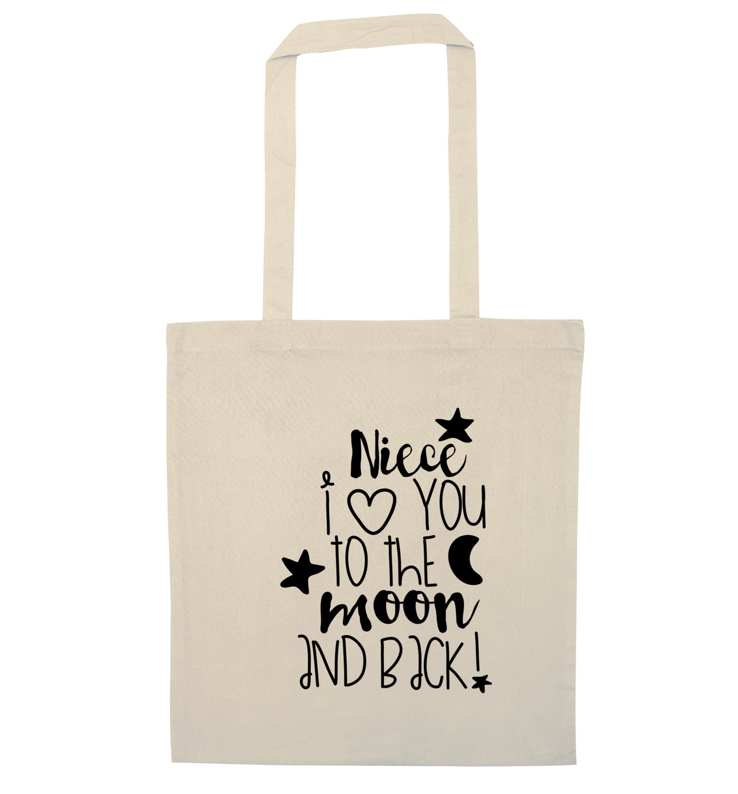 Niece I love you to the moon and back natural tote bag