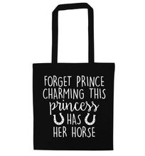 Forget prince charming this princess has her horse black tote bag