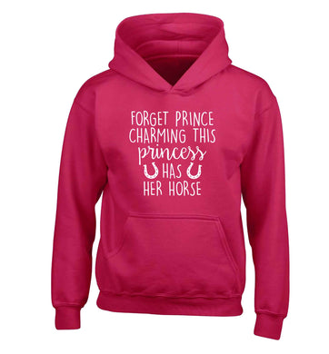 Forget prince charming this princess has her horse children's pink hoodie 12-13 Years