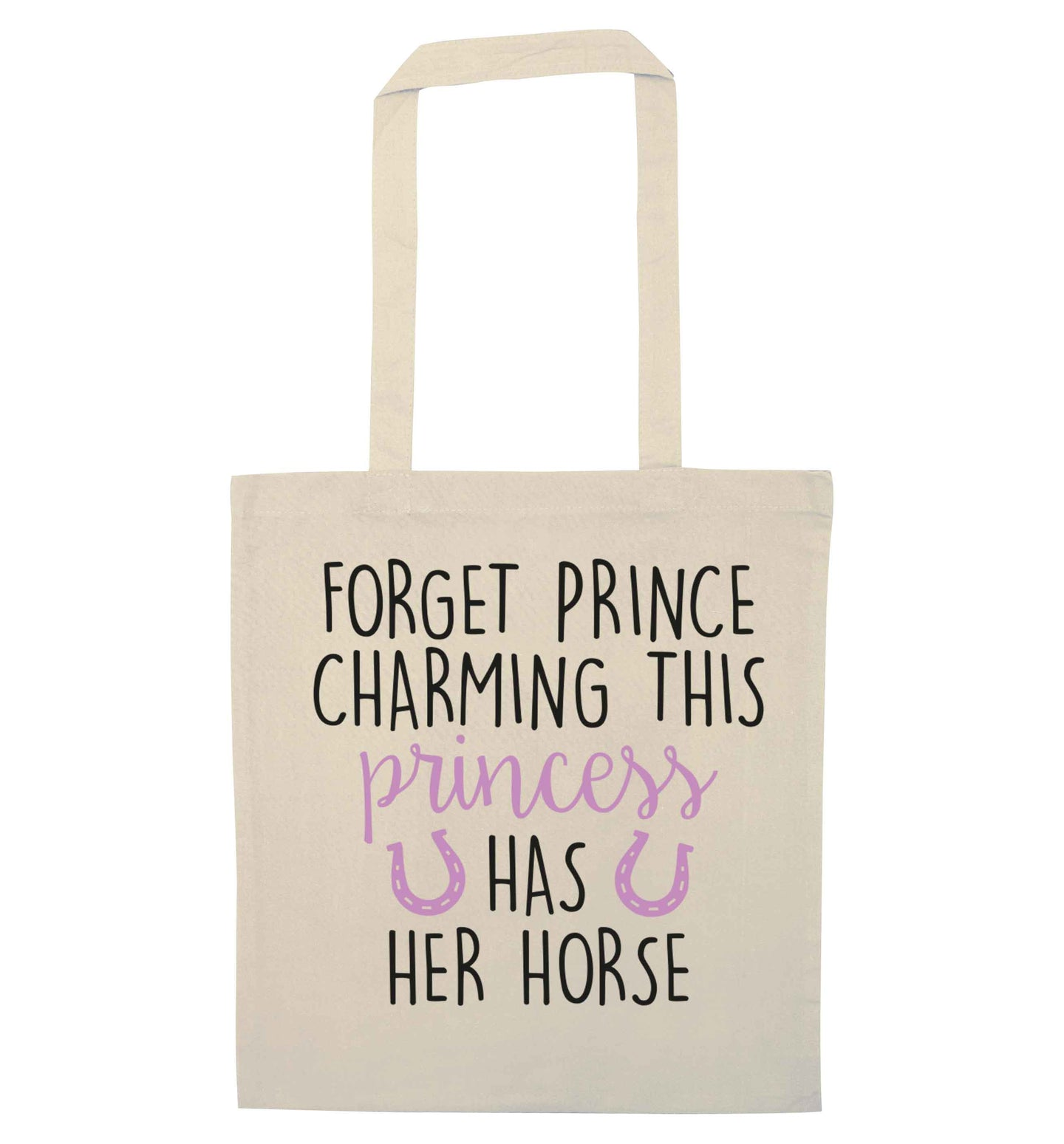 Forget prince charming this princess has her horse natural tote bag