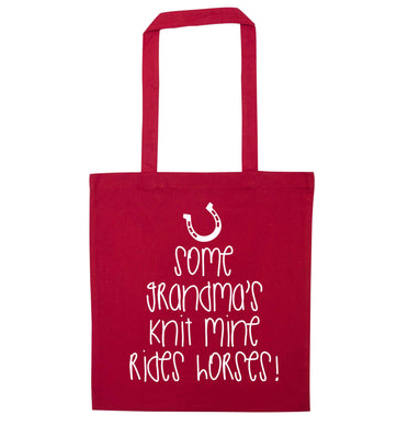 Some grandma's knit mine rides horses red tote bag