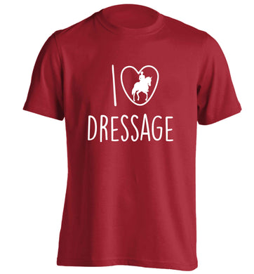 I love dressage adults unisex red Tshirt 2XL