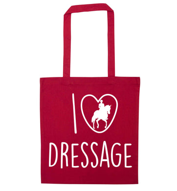 I love dressage red tote bag