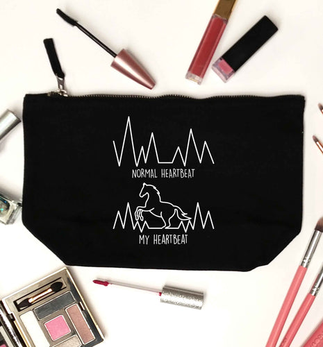 Horse - Normal heartbeat my heartbeat black makeup bag