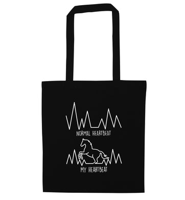 Normal heartbeat, my heartbeat horse lover black tote bag