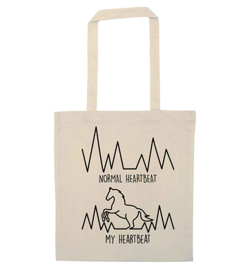 Horse - Normal heartbeat my heartbeat natural tote bag