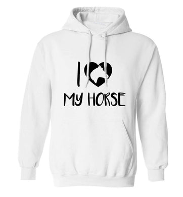 I love my horse adults unisex white hoodie 2XL