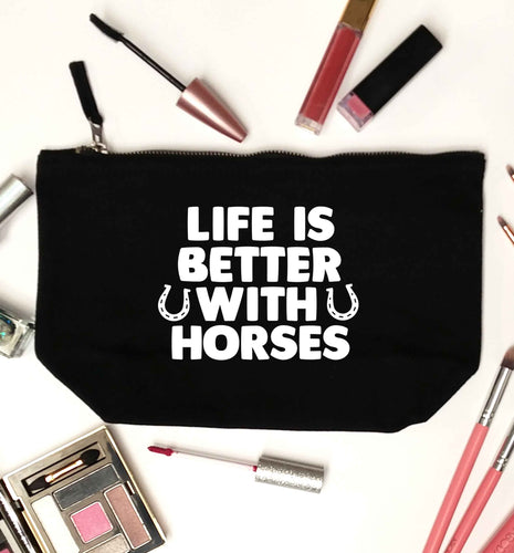 Life is better with horses black makeup bag