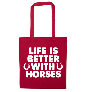 Life is better with horses red tote bag