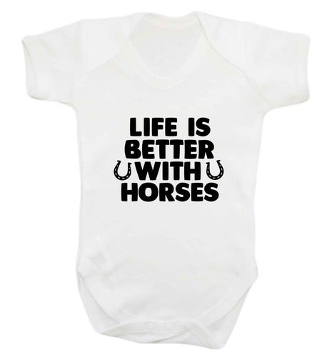 Life is better with horses baby vest white 18-24 months
