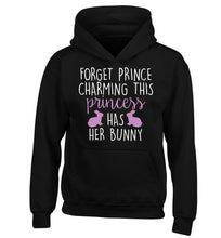 Forget prince charming this princess has her bunny children's black hoodie 12-14 Years