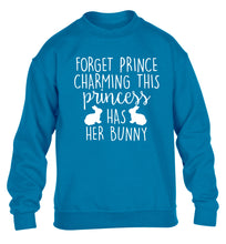 Forget prince charming this princess has her bunny children's blue  sweater 12-14 Years