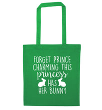 Forget prince charming this princess has her bunny green tote bag