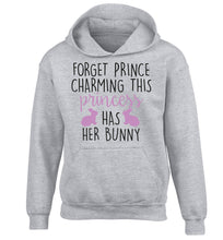 Forget prince charming this princess has her bunny children's grey hoodie 12-14 Years