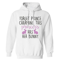 Forget prince charming this princess has her bunny adults unisex white hoodie 2XL