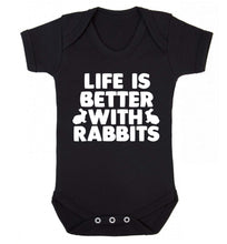 Life is better with rabbits Baby Vest black 18-24 months