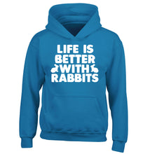 Life is better with rabbits children's blue hoodie 12-14 Years