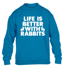 Life is better with rabbits children's blue  sweater 12-14 Years